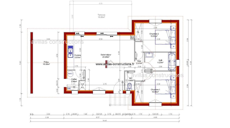 plan maisons avillas constructions 52115 B